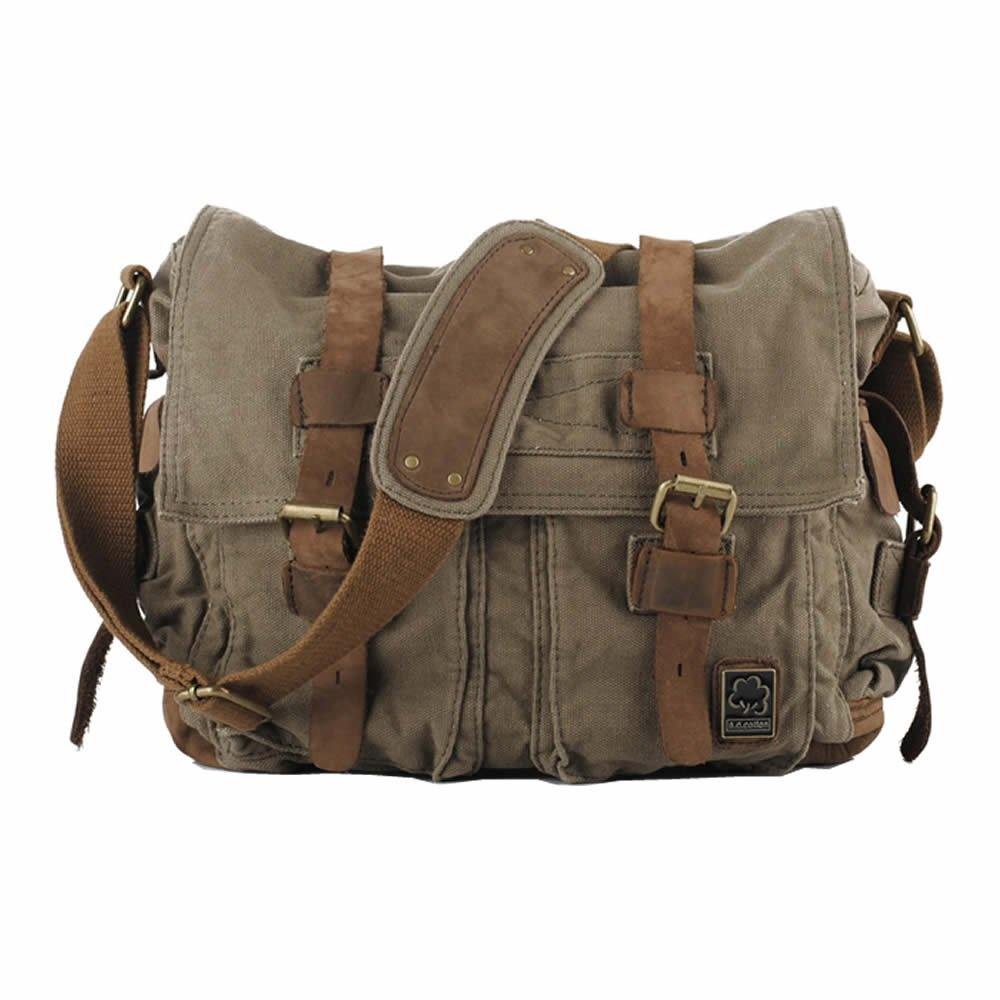 6e47456c16 Kaukko Unisex Vintage Casual Canvas Messenger Bag Shoulder Bag Cross Body  Satchel