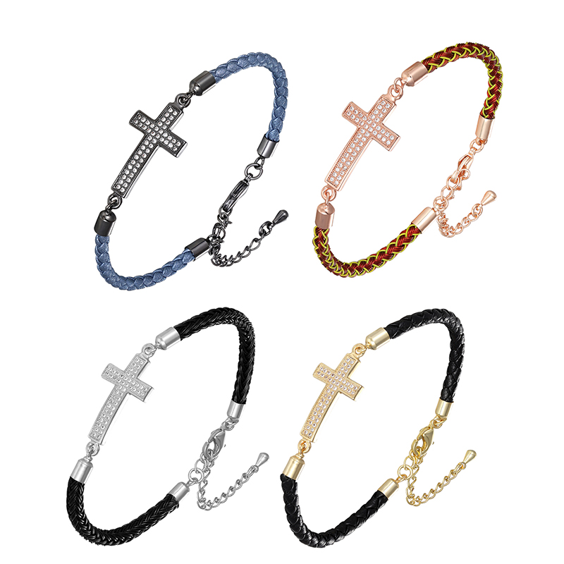 Hot Selling Exquisite Cross Shape Pendant Genuine Leather Bracelets Send To Friends