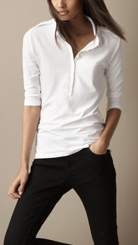 44e864ce8b710 Women Plain White Half Sleeve Polo Shirt