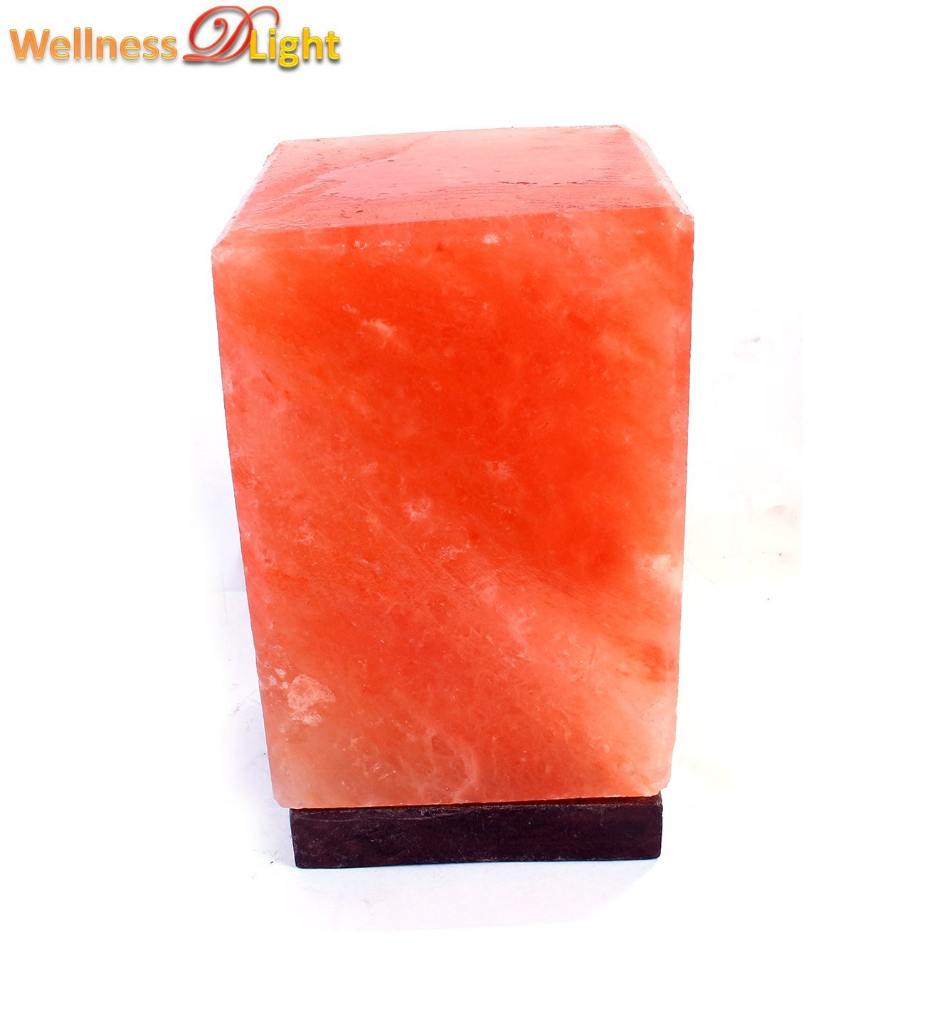 "WDL ROCK SALT HAND CRAFTED CUBE SALT LAMP 6"" WITH CORD, BULB"
