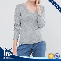 Guangzhou Shandao Custom Factory Women 180g 65% Cotton 35% Polyester Long Sleeve V-neck made in china custom t shirts