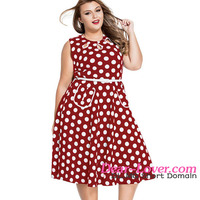 Red Keyholes Polka Dot Dresses Plus Size Clothing for Women