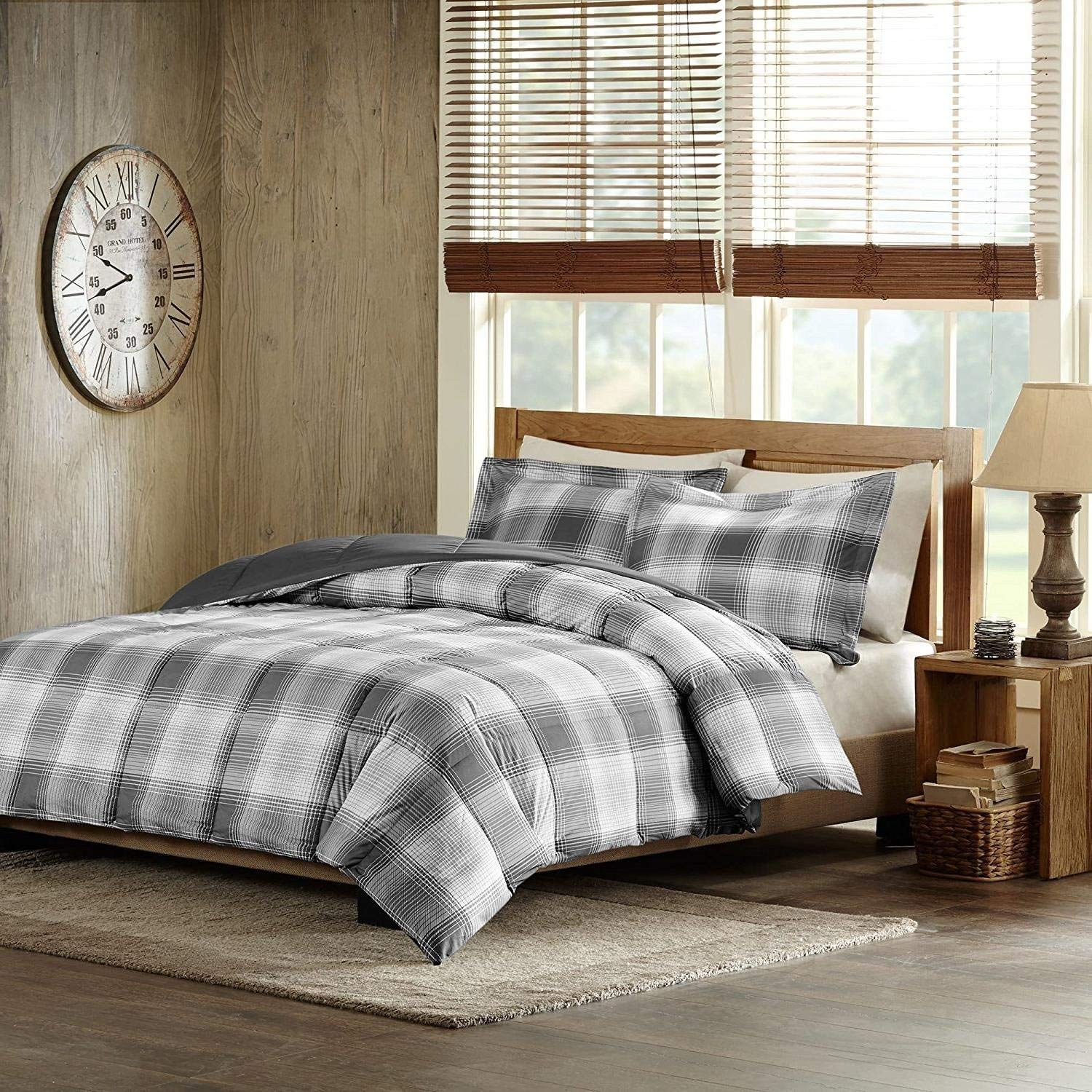 MS 3pc Grey Plaid Full Queen Comforter Set, Gray Checked Checkered Bedding Tartan Madras Lumberjack Stripes Line Pattern Squares White Black Cabin Lodge Theme, Striped Soft, Polyester