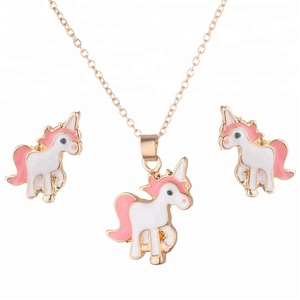 Daihe jewelry European and American style fashion hot sale lovely alloy animal necklaces earrings set
