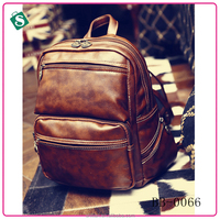 Top quality vintage backpack bags Deep coffee Color backpack