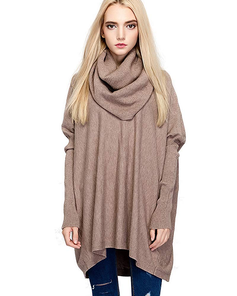 HAPEE Women Sweaters Cowl Neck Oversized Knitted Sweaters for Women Pullover