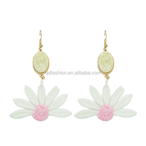 2018 wholesale handmade gold hook seoul stone earrings flower jhumka design