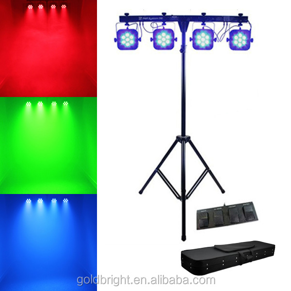 Concert DJ lighting system 4 PAR64 X 7X8W QUAD MEGA LED flat par T bar set