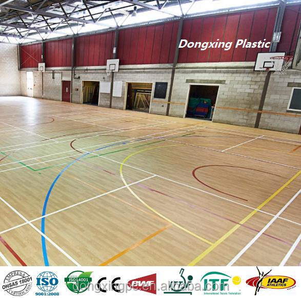 Easy cleaning UV coating PVC sports flooring for basketball