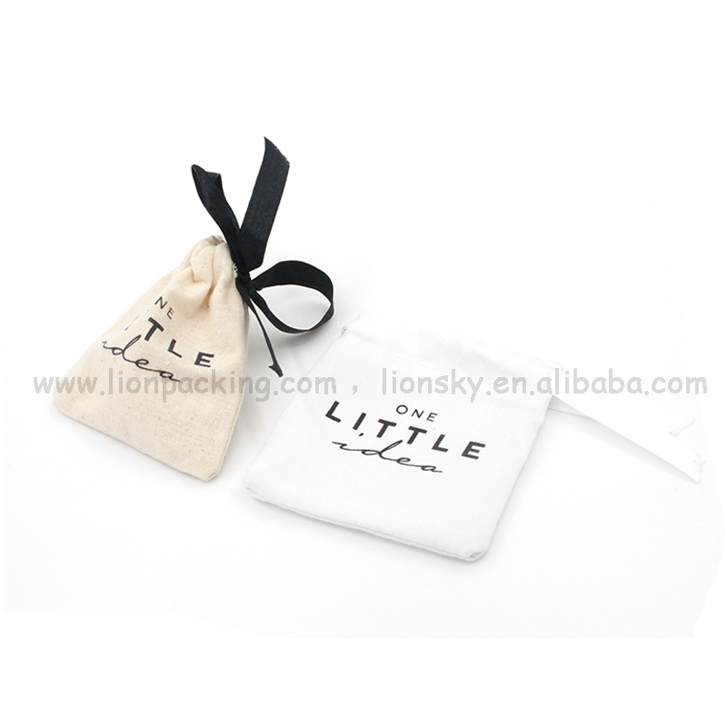 Custom logo small christmas gift pouch 100% organic cotton muslim bags for jewellery