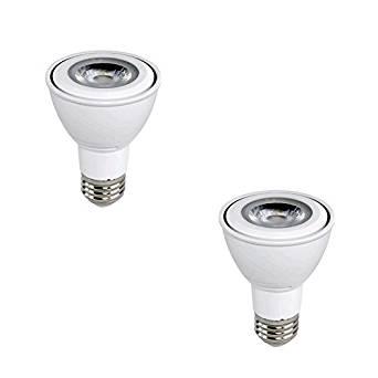Euri Lighting flood PAR20 LED bulb, 7W (50 Watt Equivalent), 2700K (Warm White Glow), 40° Beam Angle, Medium Base (E26), 500 Lumens, Dimmable, UL-Listed, MCOB LED Technology - EP20-2020EW (Pack of 2)