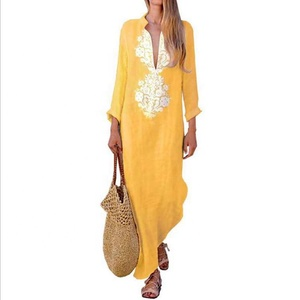 Summer Ultra Deep V Cotton And Linen Maxi Women Long Sleeve Embroidery Ladies Casual Dresses