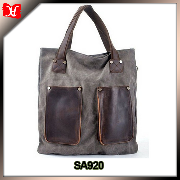 Vintage Unisex Hobo Canvas Genuine Leather Shoulder Bag Handbag