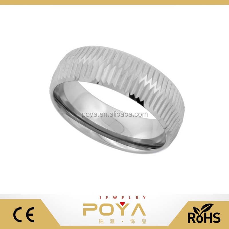 POYA Jewelry Wholesale Cheap 8mm Tungsten Wedding Ring 2-row Coin Edge Dome Polished Finish Comfort fit