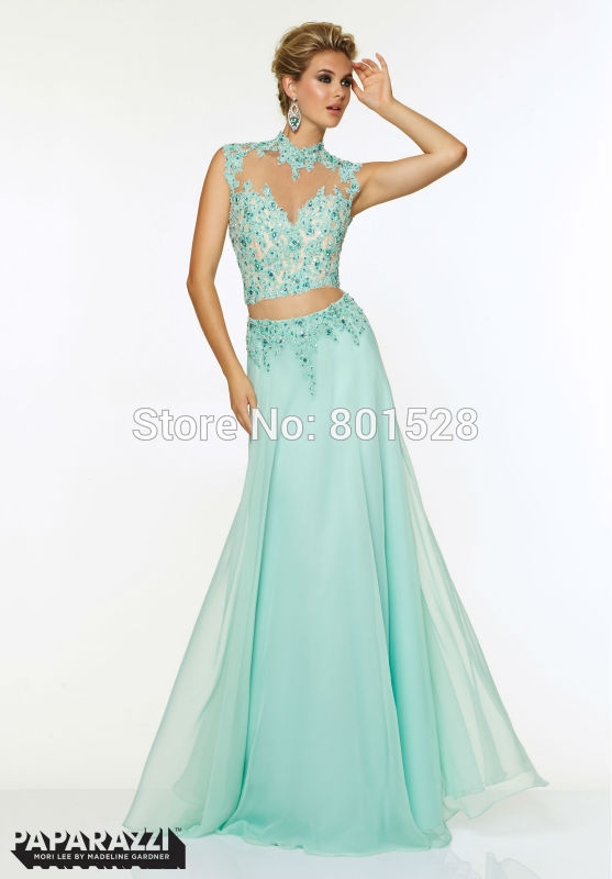 Elegant High Neckline Two Pieces Long Prom Dresses 2015 Fashionable Beaded Appliques Orange Lace Prom Dress Evening Party Gown