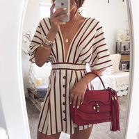 2019 Tempting Hot Sale new ladies casual dresses spring and summer autumn exposed chest women's striped deep V dress