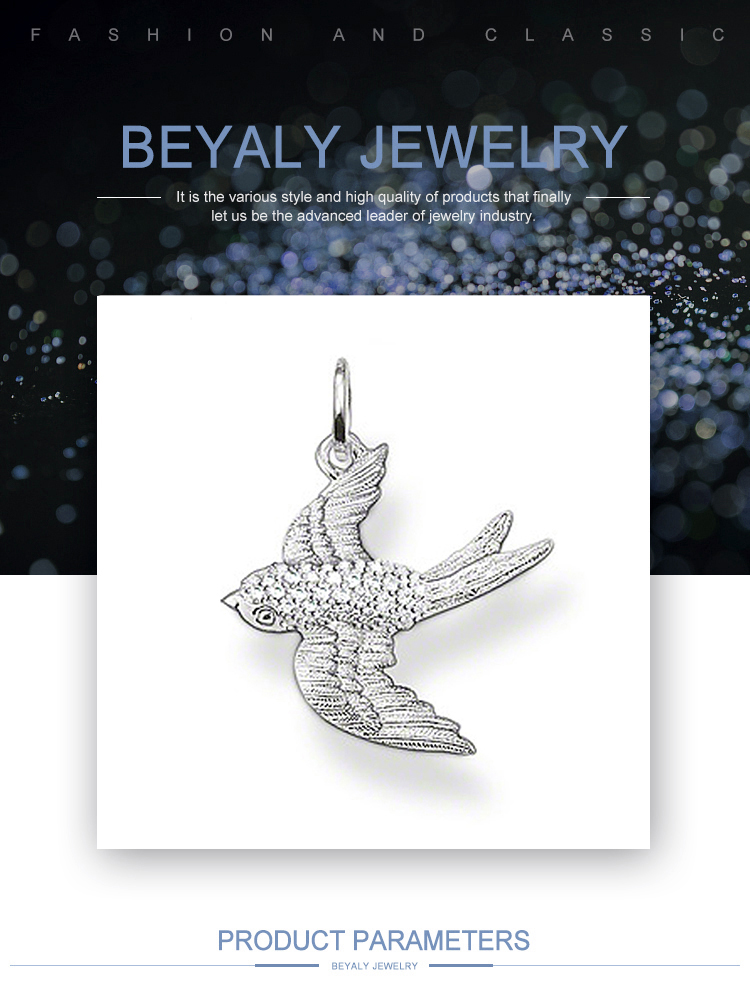 product-BEYALY-Flying Swallow Pendant Engraved Silver Chunky Chain Necklace-img