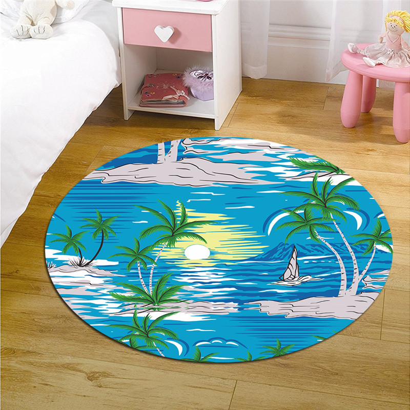 Round Simple Living Room Bedroom Bedside Soft Comfortable Printed Custom Patterned Floor Mats