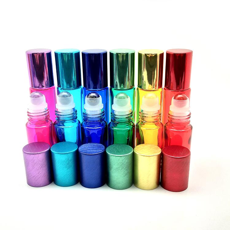 Migpack 2019 nieuwe cosmetische verpakkingen 5 ml 10 ml kleurrijke ronde glas edelsteen essentiële olie roller ball roll op fles