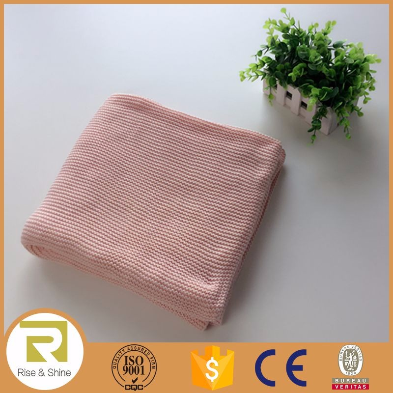 Wholesale 100% cotton pink waffle knit throw blanket