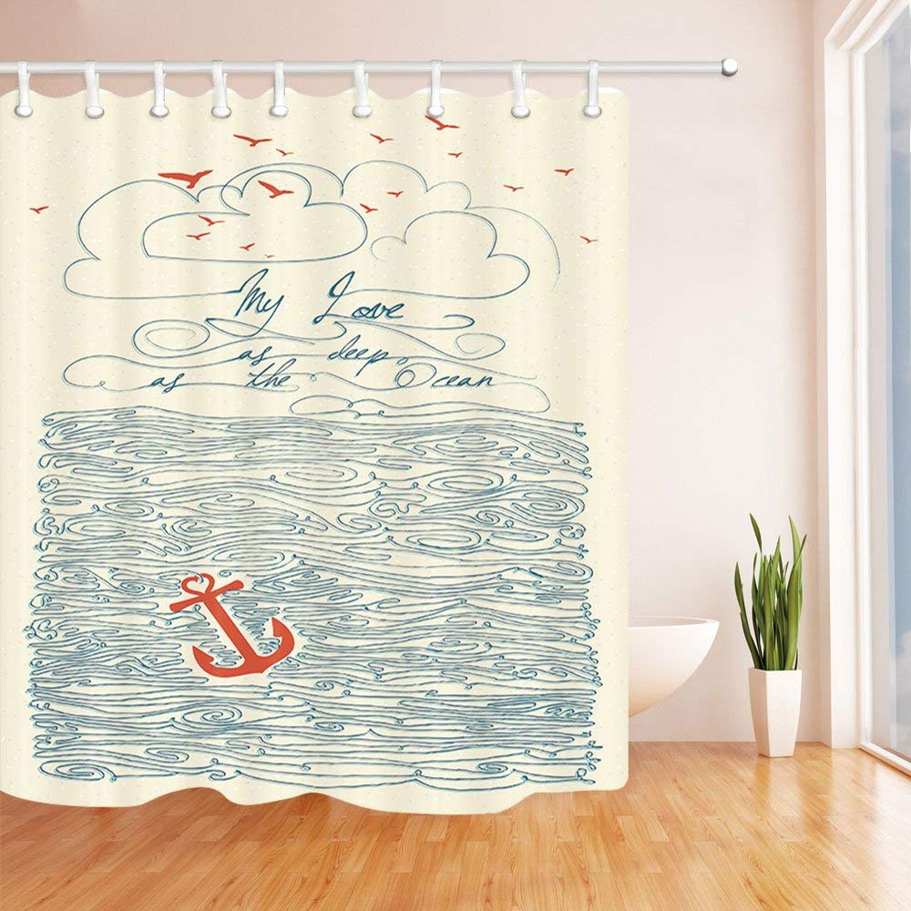 Chengsan Quotes Shower Curtain by, My Love As Deep As the Ocean Waves Nautical Anchor Home Decor Bathroom Bath Design Art Prints Love Quotes Polyester Fabric Shower Curtain Cream Navy (71x71 inch, 3)