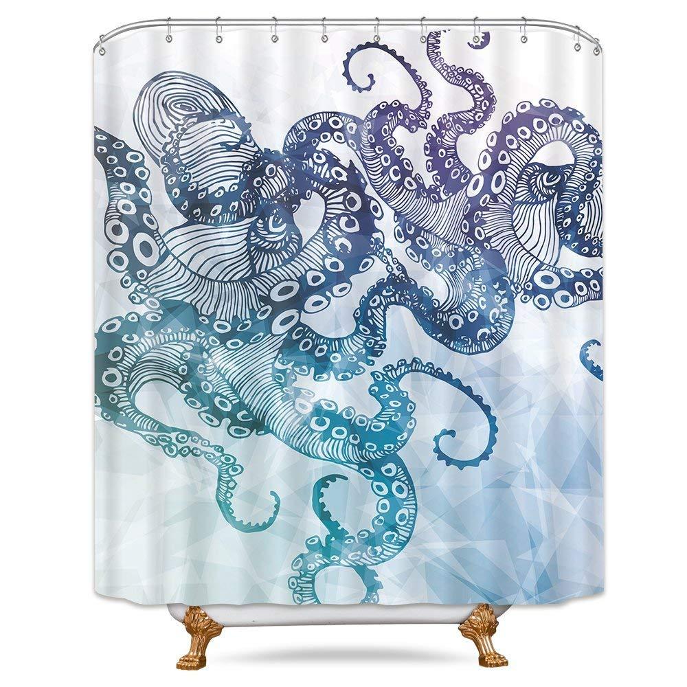 Get Quotations Riyidecor Ocean Kraken Octopus Shower Curtain 72x78Inch Free Metal Hooks 12 Pack Marine Life Teal