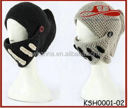 Invierno unisex Caballero romano estilo casco Cap lana knit sombreros a  prueba de viento mascarilla gorros 77bab6c28d6
