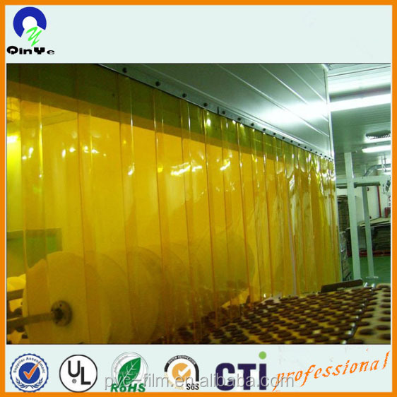 cheap clear orange colored flexible vinyle PVC film for soft plastic stripe curtain