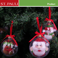 2015 unique clear plastic ball christmas ornament