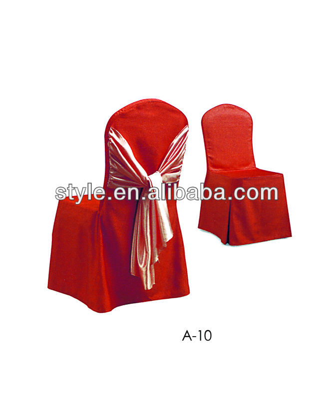 Hot sale Red style banquet chair cover with ribbon for wedding,dining chair
