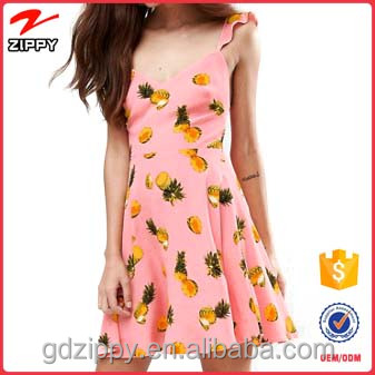 hot sale fashion pink lady pineapple printed fancy summer backless off shoulder new fashion dress for ladies