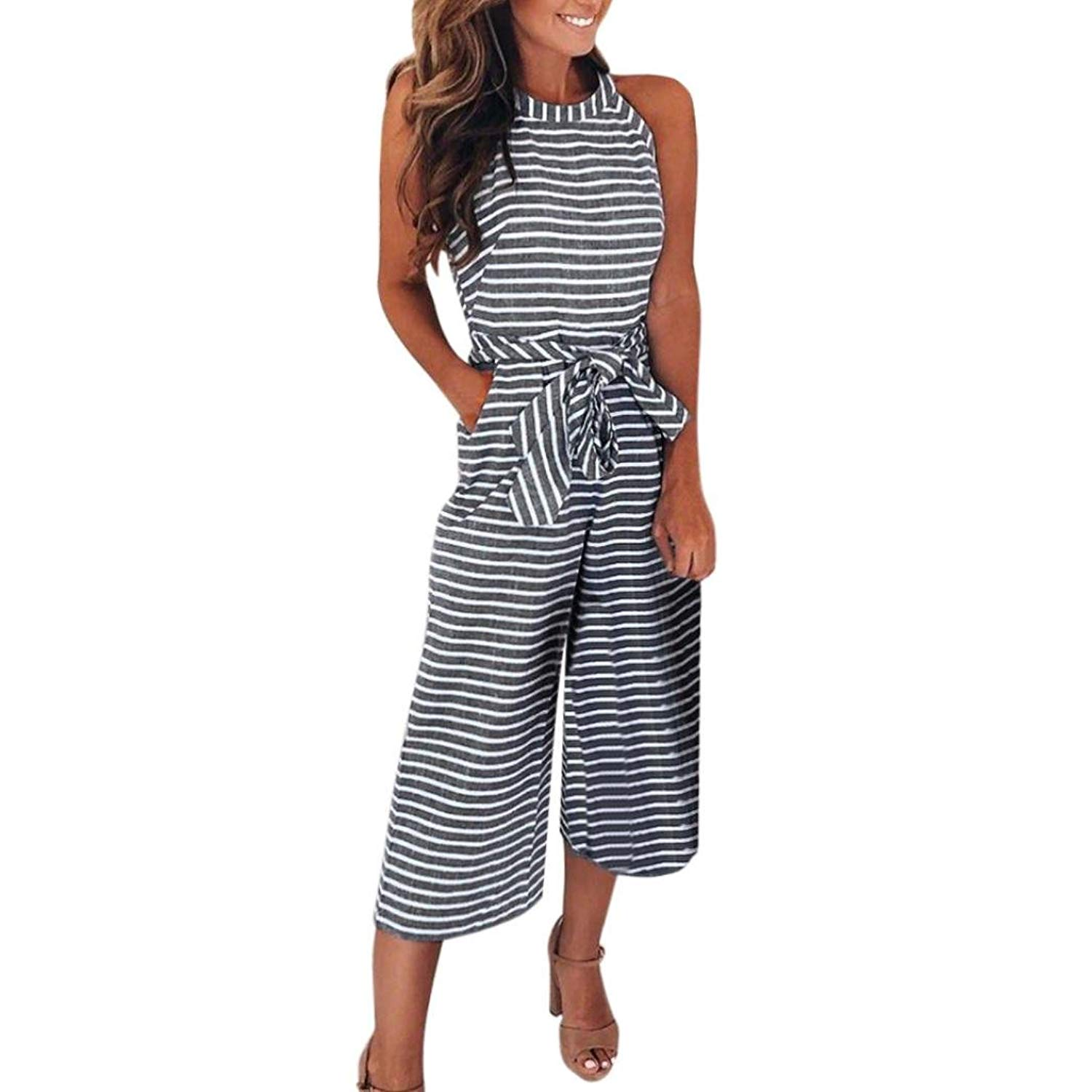 d276ece17ba5 Get Quotations · Lunaya Women Halter Striped Wide Leg Cropped Pants Waist  Belt Casual Jumpsuits Rompers with Pockets