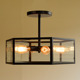 Loft Industrial Glass Box Ceiling Light Edison Ceiling Lamp