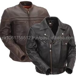 Vintage Brown Short Fitting Leather Biker Jacket Washed Leather ...
