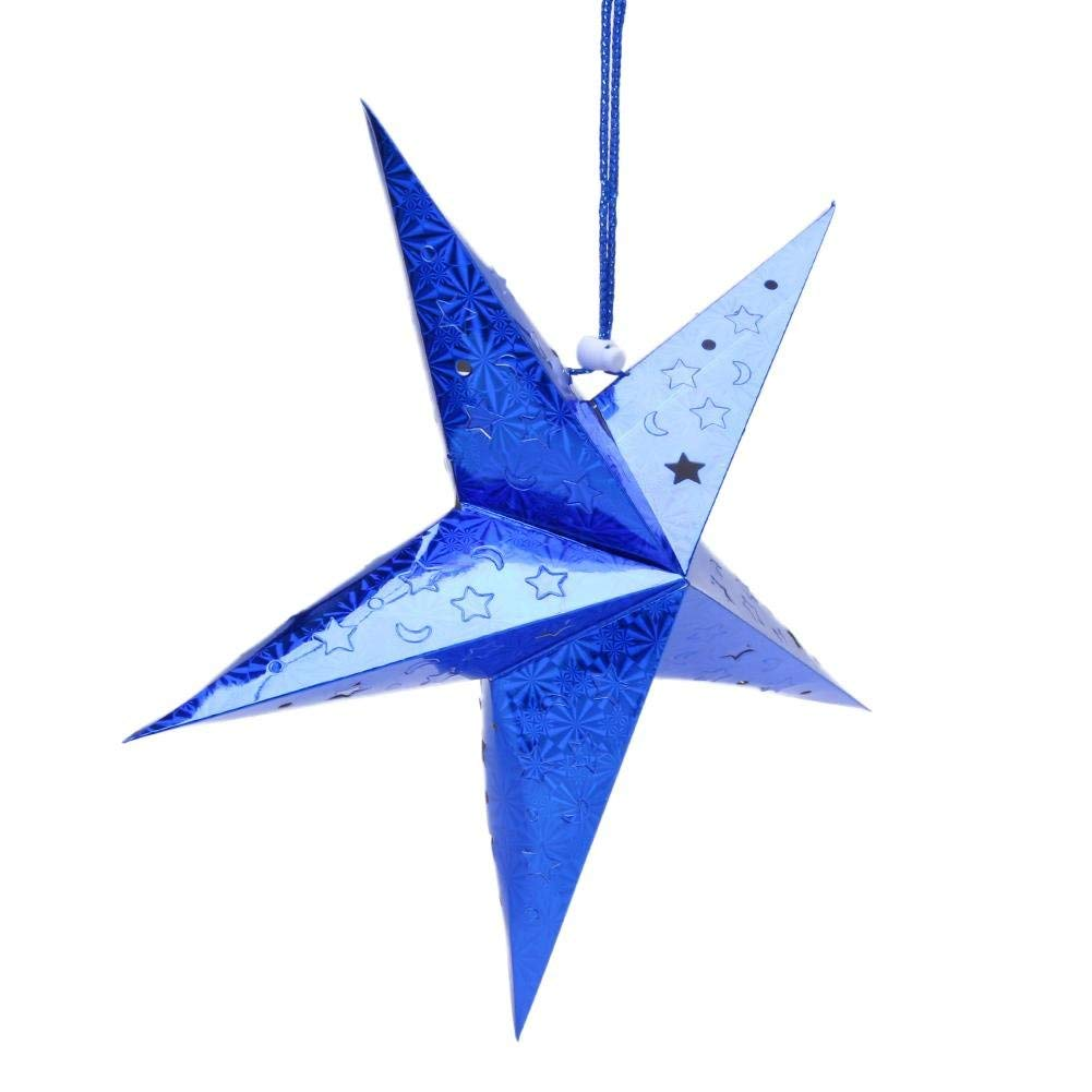 Get Quotations Vipeco Laser Christmas Tree Hanging Paper Pentagram Event Party Xmas Decor Blue