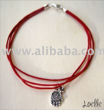 Red Kabbalaha String Bracelet with Sterling Silver Hamsa Hand Charm