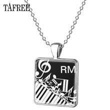 Мужское и женское классическое винтажное ожерелье TAFREE, черно-белое ожерелье с квадратным кулоном под пианино, KB28(Китай)