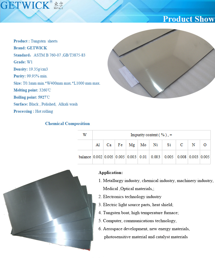China factory supplier W1 W2 tungsten sheet for radiation shielding materials