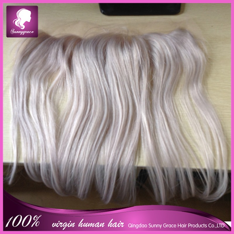 brazilian lace frontal closure 13x4 silver grey grey human hair with baby hair
