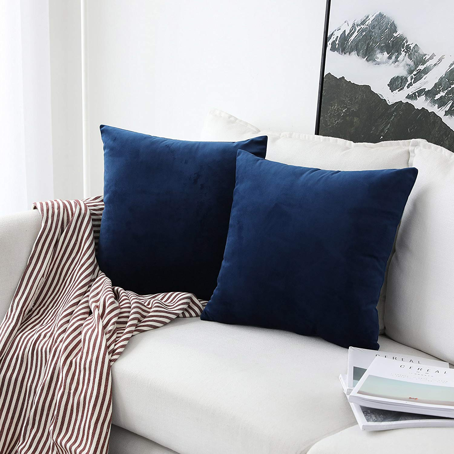 UGASA Soft Velvet Solid Square Decorative Cushion Cover Pillowcase with Hidden Zipper, 2 Packs, 18x18 inch, Navy Peony Blue