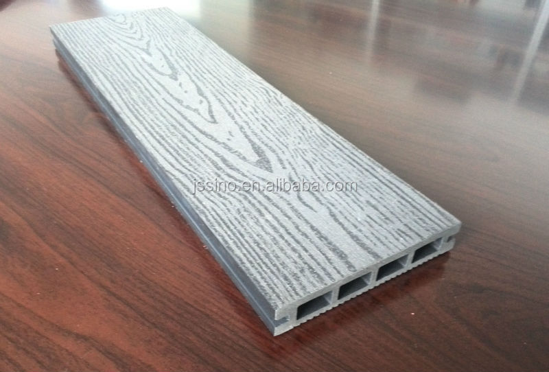 Wood fiber and plastic outdoor flooring extruded