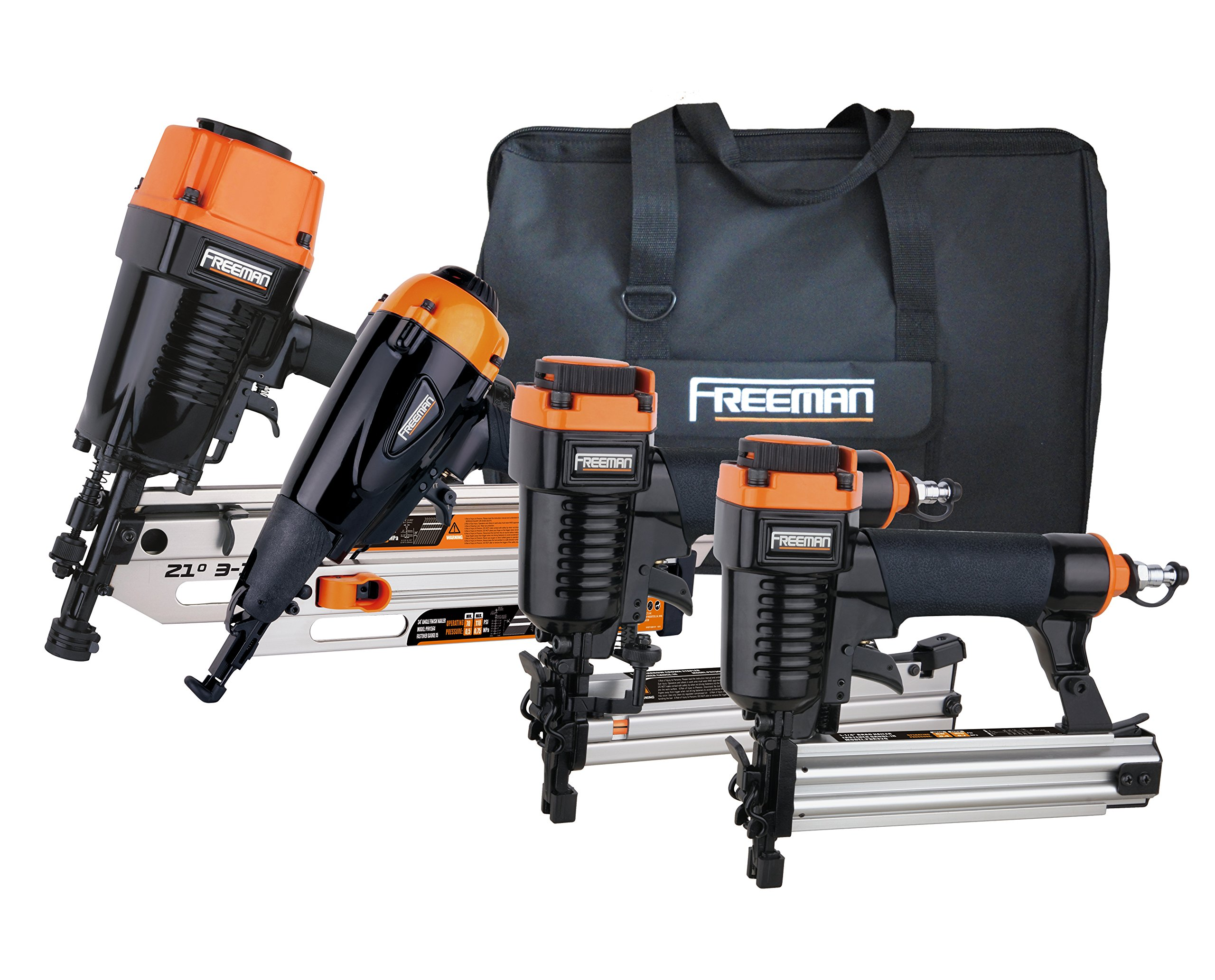 Freeman P4FRFNCB Framing/Finishing Combo Kit with Canvas Bag 4-Piece Pneumatic Nail Gun Set of 4 with Framing Nailer, Finish Nailer, Brad Nailer & Narrow Crown Stapler