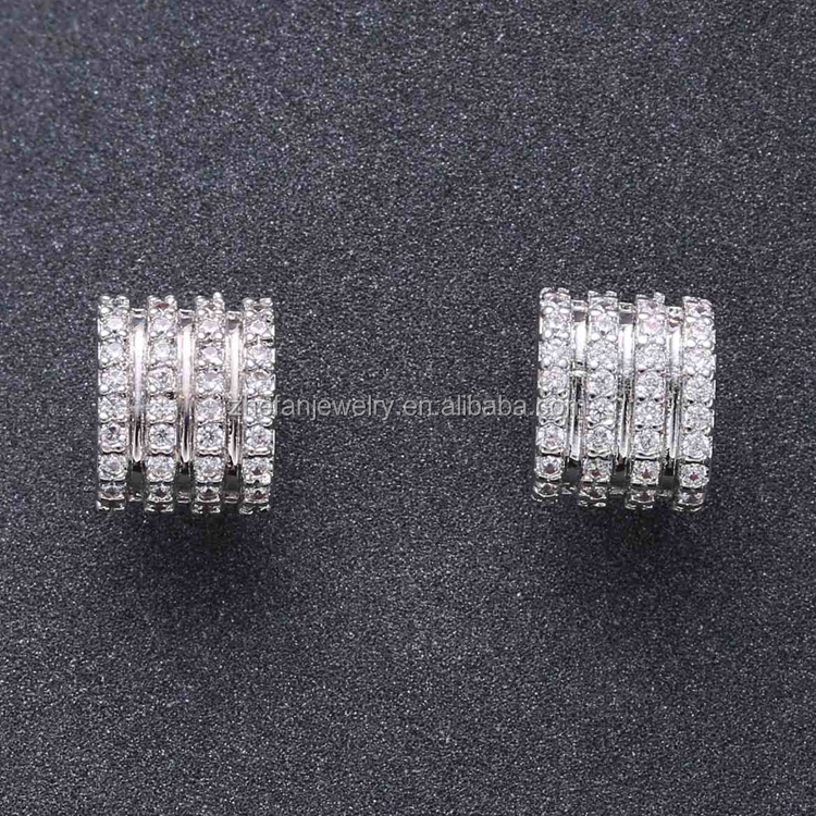 Ace shape cool rhodium plated brass earring design in a big discount
