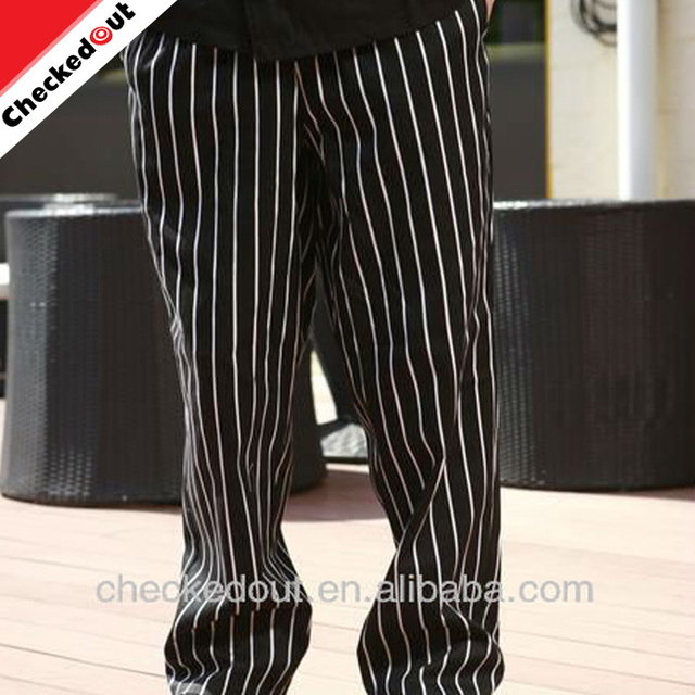 Lastest fashion kitchen clothing baggy chef trousers,designer stripe chef pants