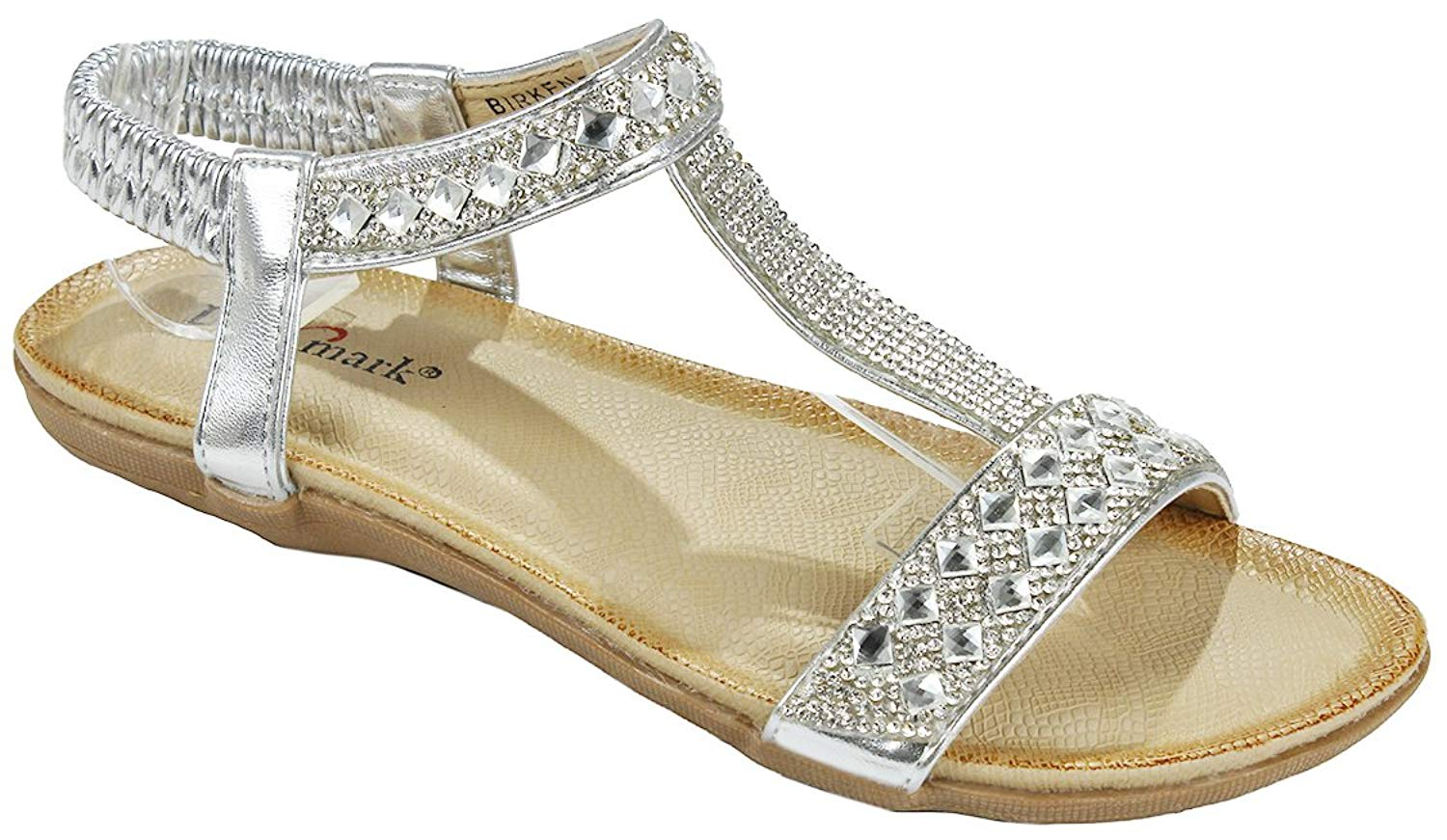 f5fd9de6c Get Quotations · Women Silver T-strap Sparkle Crystal Rhinestone Cushioned  Elastic Stretchable Slingback Sandal Shoes