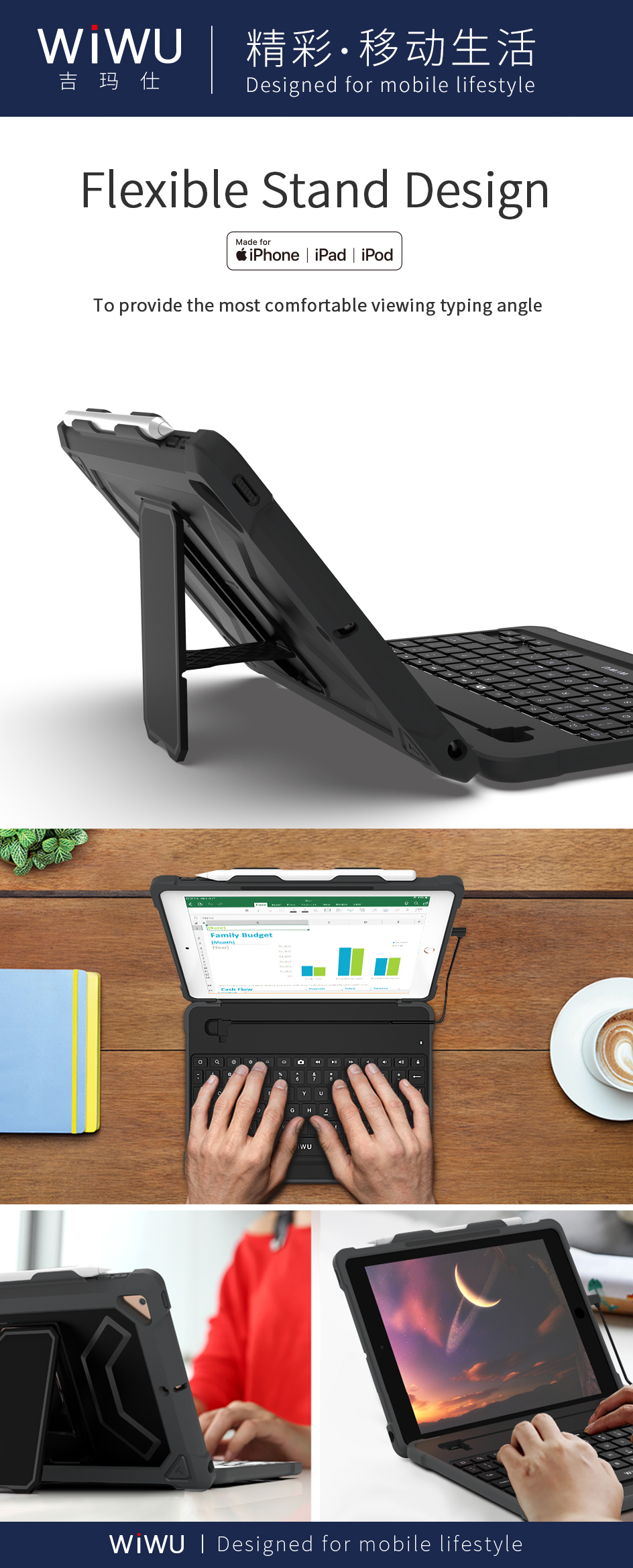 Keyboard Case for Pad Two in One Detachable Bluetooth Keyboard Magnetic with Pencil Holder Wireless Detachable Keyboard
