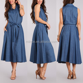 4981b143f4 Midi Denim Shirt Dress 100% cotton Denim Tie-Waist Sleeveless Pockets Buttoned  Denim Dress