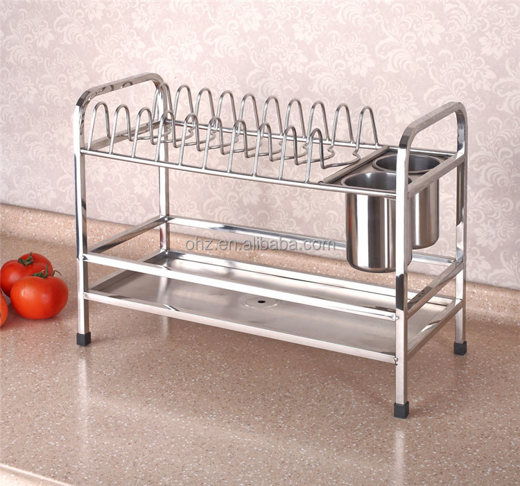 Modular Stainless Steel Kitchen Drying Dish Rack With Two Cup Holder