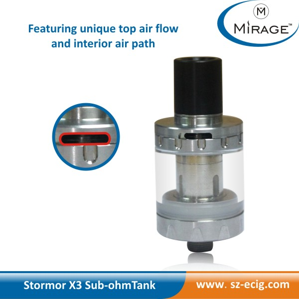 Top seller products vapor tanks amazon rebuildable stormor X3 clearomizer tank with top airflow control