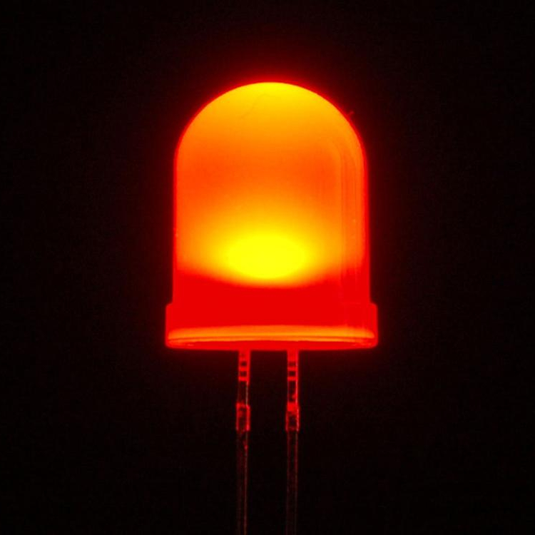 10mm Dip Diffuso Rosso Led Diodo 625Nm